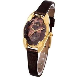 Time100 腕時計レディース 多面ひし形クリスタル 日本製ムーブメント レディースウォッチ ブラウン色 女性用腕時計W50010L.05A|hayasho