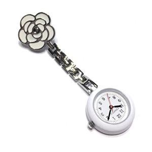 ナースウォッチ  かわいい時計 懐中時計 逆さ文字盤 ローズ  クリップ式 ホワイト|hayasho