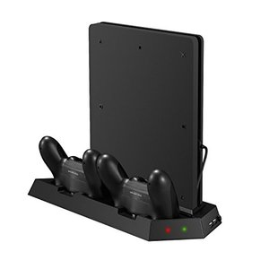 KetenTech PS4スリム 縦置きスタンド コントローラー充電スタンド 2台充電でき USBハブ2ポート 冷却ファン付き PS4 Slim 対応|hayasho