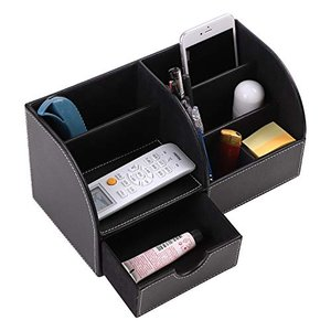 デスクオーガナイザー 卓上収納ボックス リモコンラック iPad/スマホ対応 筆入れ 小物収納 多機能ラック 引き出し付き 収納スタンド ペン立て P|hayasho
