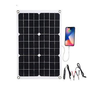 LIXADA ソーラーチャージャー ソーラーパネル ソーラー充電器20W キャンピングカーなど充電に最適IP65防水 USBポート 超薄 高効率 アウ hayasho