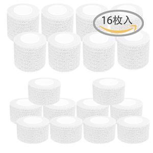 16巻入 自着性テープ テーピング エラスチックバンデージ 弾性包帯 伸縮性 厚手タイプ 白 (2.5cm*4.6m-10巻入 5cm*4.6m-6巻|hayasho