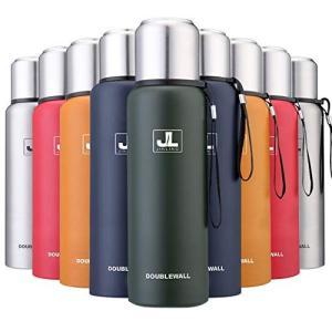 JINLING スポーツボトル 水筒 魔法瓶 真空断熱 保温保冷 大容量 304ステンレス鋼 0.5/0.75/1/1.5リットル (グリーン 500|hayasho