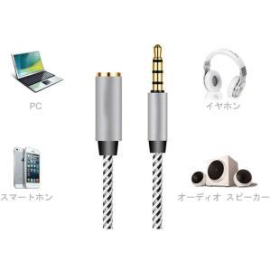 ヘッドホン延長用コード 4極ミニプラグ採用 標準3.5mm ステレオヘッドホン延長 ケーブル (3m, 銀)|hazime-buppan