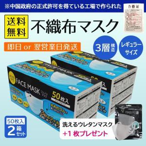 不織布マスク 2箱セット(1箱50枚入×2)+ウレタンマスク1枚|hc-store