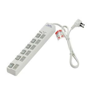 ELPA(エルパ) 耐雷サージ LEDランプ スイッチ付タップ(上差し) 1m 6個口 ホワイト WLS-LU610MB(W) hc7