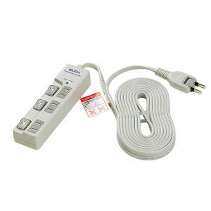 ELPA(エルパ) 耐雷サージ LEDランプ スイッチ付タップ(上差し) 5m 3個口 ホワイト WBS-LU305B(W) hc7