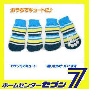 ブルーストライプソックス(犬用靴下) 1足分4個セット (ps006)  [犬 洋服 犬 靴下 ペット 洋服]|hc7