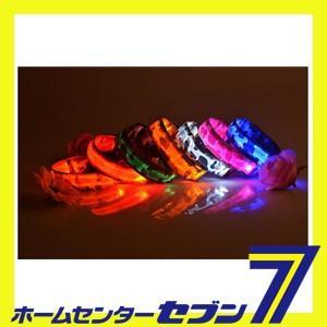 (ec4580424256130) LEDライト内蔵 光る首輪(迷彩) オレンジ M Huggy Buddy's[首輪 犬 ペット 光る ledライト 事故防止 交通安全 夜間 散歩]|hc7