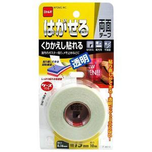 (メール便可)ニトムズ はがせる両面テープ くりかえし貼れる透明 T3810 厚さ0.16mm×幅1...