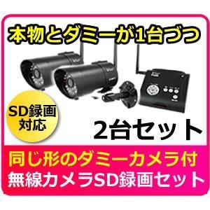 家庭用 防犯カメラ ワイヤレス 屋外  SDカード録画一体型 無線防犯カメラ& ダミーカメラ  AT-2800Dセット|hdc
