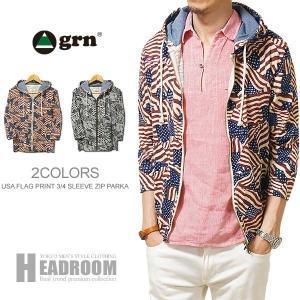 ジャケット/メンズ/grnUSA 星条旗柄プリント 7分袖 ジップアップパーカー/カットソー/ジーアールエヌ|headroom