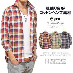 カジュアルシャツ メンズ grn 綿麻 7分袖 チェックシャツ ネルシャツ ジーアールエヌ|headroom