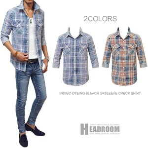 カジュアルシャツ メンズ デニム ブリーチ加工 インディゴ染め コットン100% 7分袖 チェック シャツ|headroom
