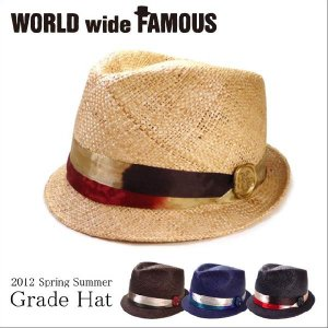 World wide famous【春夏 ハット】【ギフト】【新作】麦わら 中折れ 帽子 レディース メンズ バオ素材 ワールドワイドフェイマス Grade hat|headwear-blake