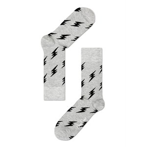 Happy Socks ハッピーソックスソックス 靴下 レディース メンズ【グレー、ブラック フラッシュ】COMBED COTTON|headwear-blake