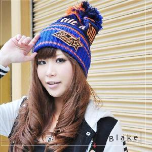 帽子  Blake ワッペンカラフルポンポンニット帽|headwear-blake