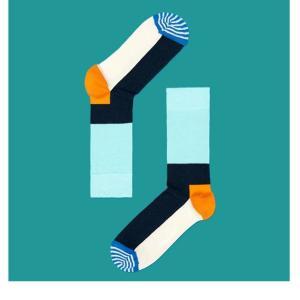 Happy Socks ハッピーソックスソックス 靴下 レディース メンズ【ブルー、ネイビー、オレンジ、ストライプ】COMBED COTTON|headwear-blake