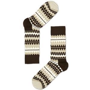 Happy Socks ハッピーソックスソックス 靴下 レディース メンズ【ブラウン、ホワイト、ジグザグ】COMBED COTTON|headwear-blake