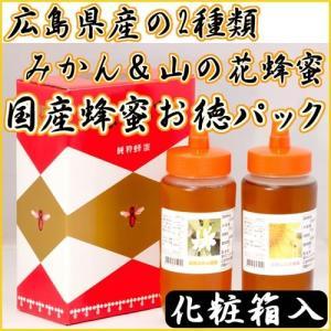 【送料無料】国産(広島県産)みかん蜂蜜&山の花蜂蜜・500g×2本お徳パック|healthy-c