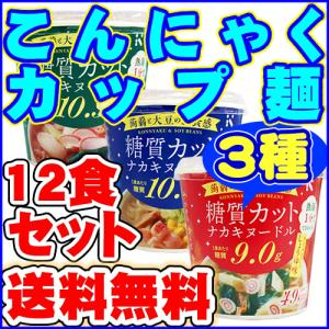 ダイエット食品 送料無料 こんにゃくラーメン等 カップ入りこんにゃく麺3種類(しょうゆ味・かつおだし・しお味)12食セット|healthy-c