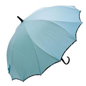 VIVID-FLOW シームレス(一枚張り)長傘 60cm ストライプパイピング無地 FTW-1806 スモーキーグリーン|healthy-living