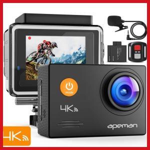 アクションカメラ 新型 APEMAN A79 4K高画質 1600万画素 外部マイク リモコン付き ...