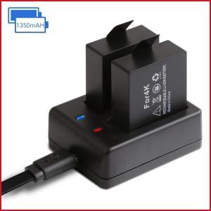 APEMAN アクションカメラ 専用互換バッテリー 1050mAh充電式バッテリー2個 急速デュアル...