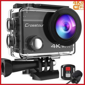 アクションカメラ Crosstour 4K高画質 リモコン付 WiFi搭載 水深30m撮影 手ブレ補...
