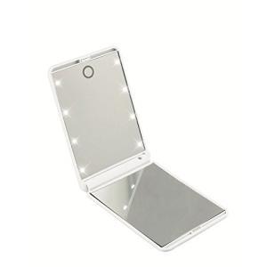 「正規代理店」Miroir 鏡 化粧鏡 330度調節可能 コンパクトミラー スタンドミラー 折りたたみ式 二面鏡 女優ミラー 拡大鏡付き LED ライト8個 無印タイプ (白)|healthysmile