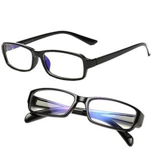 パソコン用眼鏡 PCメガネ ブルーライト 青色光 UV カット メンズ レディース クリーンクロス ケース セット クリアレンズ ブラックフレーム(ツヤ有)|healthysmile