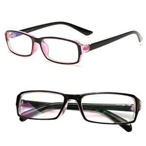 パソコン用眼鏡 PCメガネ ブルーライト 青色光 UV カット メンズ レディース クリーンクロス ケース セット クリアレンズ ピンクフレーム|healthysmile