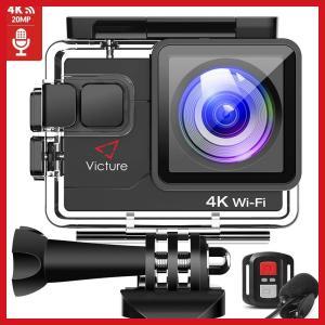 令和最新 Victure アクションカメラ 4K/30fps 20MP画素 外部マイク対応 リモコン...