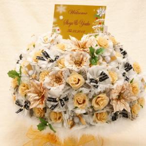 ウェルカムボード 結婚式 完成品 プチギフト お菓子 名入れ シュシュ ドラジェ 50個セット|heart-couture