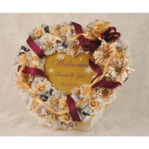 ウェルカムボード 結婚式 完成品 プチギフト お菓子 名入れ シュシュハート ドラジェ 48個セット|heart-couture