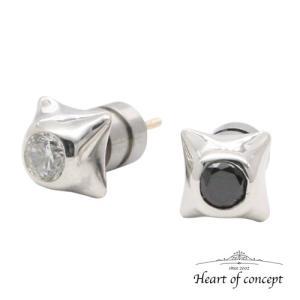 送料無料 シルバー ペアピアス ハートオブコンセプト プレゼント 誕生日 HCE-27CZ-HCE-27BKCZ|heart-of-concept