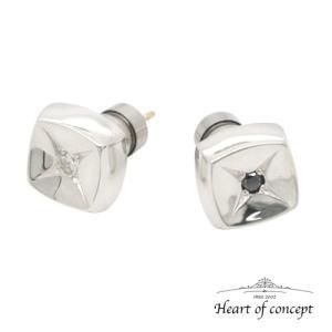 送料無料 シルバー ペアピアス ハートオブコンセプト プレゼント 誕生日 HCE-68DA-HCE-68BKD|heart-of-concept