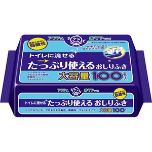 日本製紙クレシア アクティ トイレに流せるたっぷり使えるおしりふき / 80623 100枚|heartcare