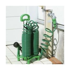 ガーデンコイルホース スタンドセット 散水ホース リール コイル式ホース ガーデン ガーデニング ガーデンコイル ホース コイル 散水 コイルホース|heartdrop