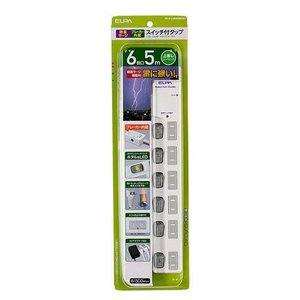 直送品 代引き不可 ELPA(エルパ) LEDランプスイッチ付タップ 上挿し 6個口 5m ブレイカ...