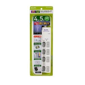直送品 代引き不可 ELPA(エルパ) LEDランプスイッチ付タップ 上挿し 4個口 5m ブレイカ...