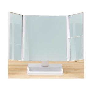 テーブルで使う拡大鏡付三面ミラー 卓上ミラー 卓上鏡 三面鏡 メイクミラー 化粧ミラー アイメイク メイク ミラー 鏡|heartdrop