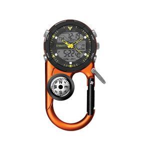 Dakota ダコタ カラビナウォッチ AnglerIIデジタル・クリップ時計 (オレンジ) 3気圧防水・デジタルライト・温度計・アラーム・方位磁石・クロノグラフ|heartlandtrading