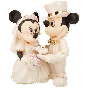 Lenox レノックス ディズニー・フィギュア ミッキーとミニーの結婚式 Minnie's Dream Wedding  24Kアクセント白磁フィギュア|heartlandtrading