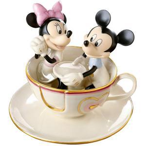 Lenox レノックス ディズニー・フィギュア ミッキーとミニー Mickey's Teacup Twirl 24Kアクセント白磁フィギュア|heartlandtrading