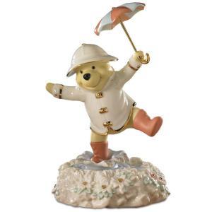 Lenox レノックス ディズニー・フィギュア プーさんの雨に唄えば Pooh's Singing in the Rain  24Kアクセント白磁フィギュア|heartlandtrading