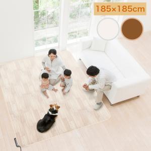 日本製 ホットカーペット対応 木目柄 中敷き カーペット 2畳相当 185cm×185cm ホットカーペットカバー 防水 抗菌 防汚 木目 ブラウン AHW-1002HH 明和グラビア heartmark-shop