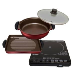 IRIS/アイリスオーヤマ ガラストップ  IHクッキングヒーター & 焼き肉プレート & 鍋セット ブラック IHC-T51S-B|heartmark-shop
