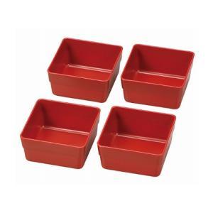 HAKOYA/ハコヤ 日本製 15.0角 重箱用 仕切り小鉢 4個セット 赤 電子レンジ対応・食洗機非対応 heartmark-shop