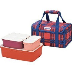 THERMOS/サーモス ファミリーフレッシュランチボックス 2段 保冷バッグ付き レッドチェック DJF-4002-RC|heartmark-shop